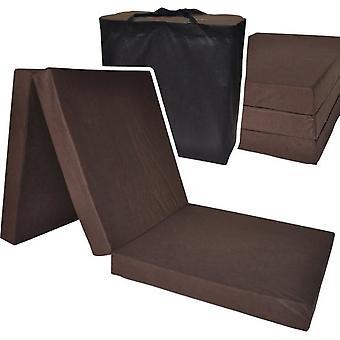 Vieraspatja - ruskea - leirintäpatja - matkapatja - taitettava patja - 195 x 60 x 10