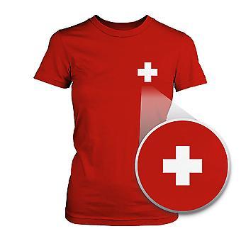 Schweiz flagga Pocket tryckt röd Tee kvinnors kortärmad T-shirt