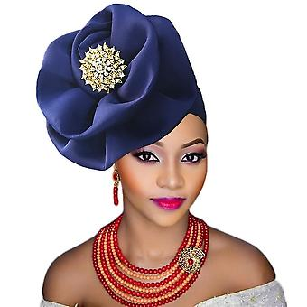 Gele Nigeria Тюрбан Оголовье уже привязано к африканской голове обертывания шапка