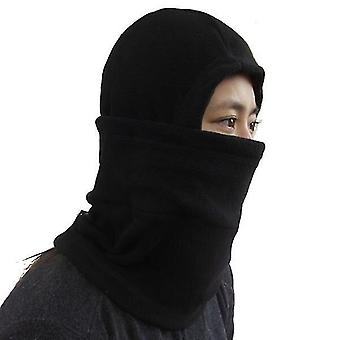 Outdoor chairs winter protection masked cap windproof fleece face guard mask black color