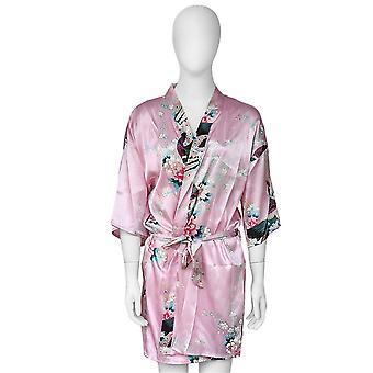 Comfortable Women Sleep Dress Peacock Floral Printed Sexy Silk Sleepwear