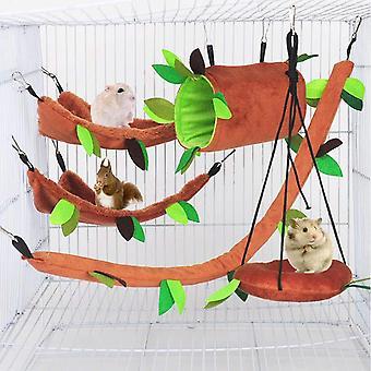5pcs Hamster Hammock , Petit lit pour animaux, Cage de motif forestier Toy