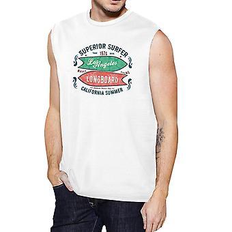 Superieure Surf Longboard Mens wit Tanks Vintage mouwloos T-Shirt