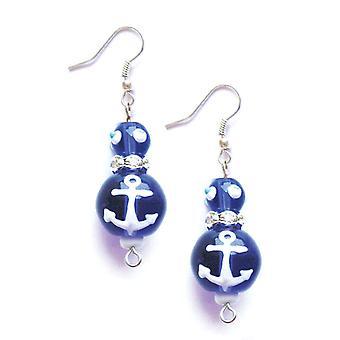 Marinheiro azul âncoras fora strass vidro frisado Kate e Macy piercings brincos