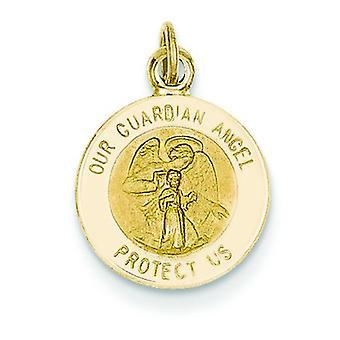 14k gult gull solid graverbar polert tilbake polert og sateng Guardian Angel Charm Anheng Halskjede Tiltak 11.6x16