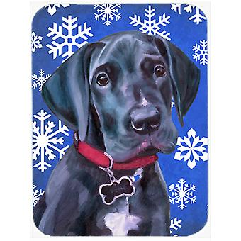 Black Great Dane Puppy Winter Snowflakes Holiday Glass Cutting Board Large