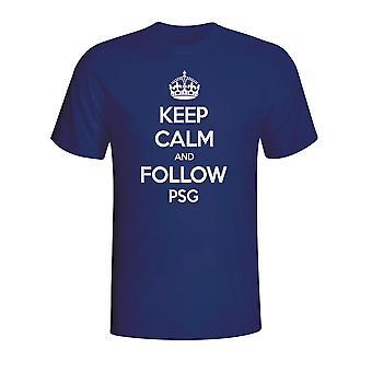 Mantener la calma y seguir Psg camiseta (Armada) - niños