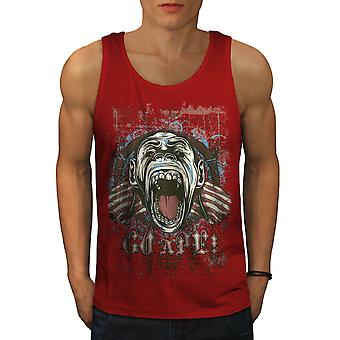 Ape Monkey Cool Men RedTank Top | Wellcoda
