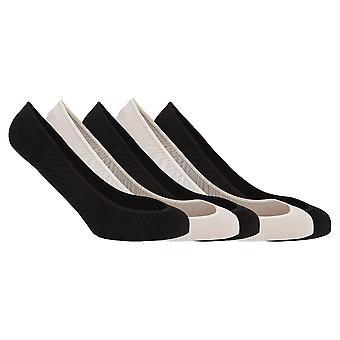 Soho Collection Womens Black/Beige Footsies With Gel Heel Grip (Pack Of 5)
