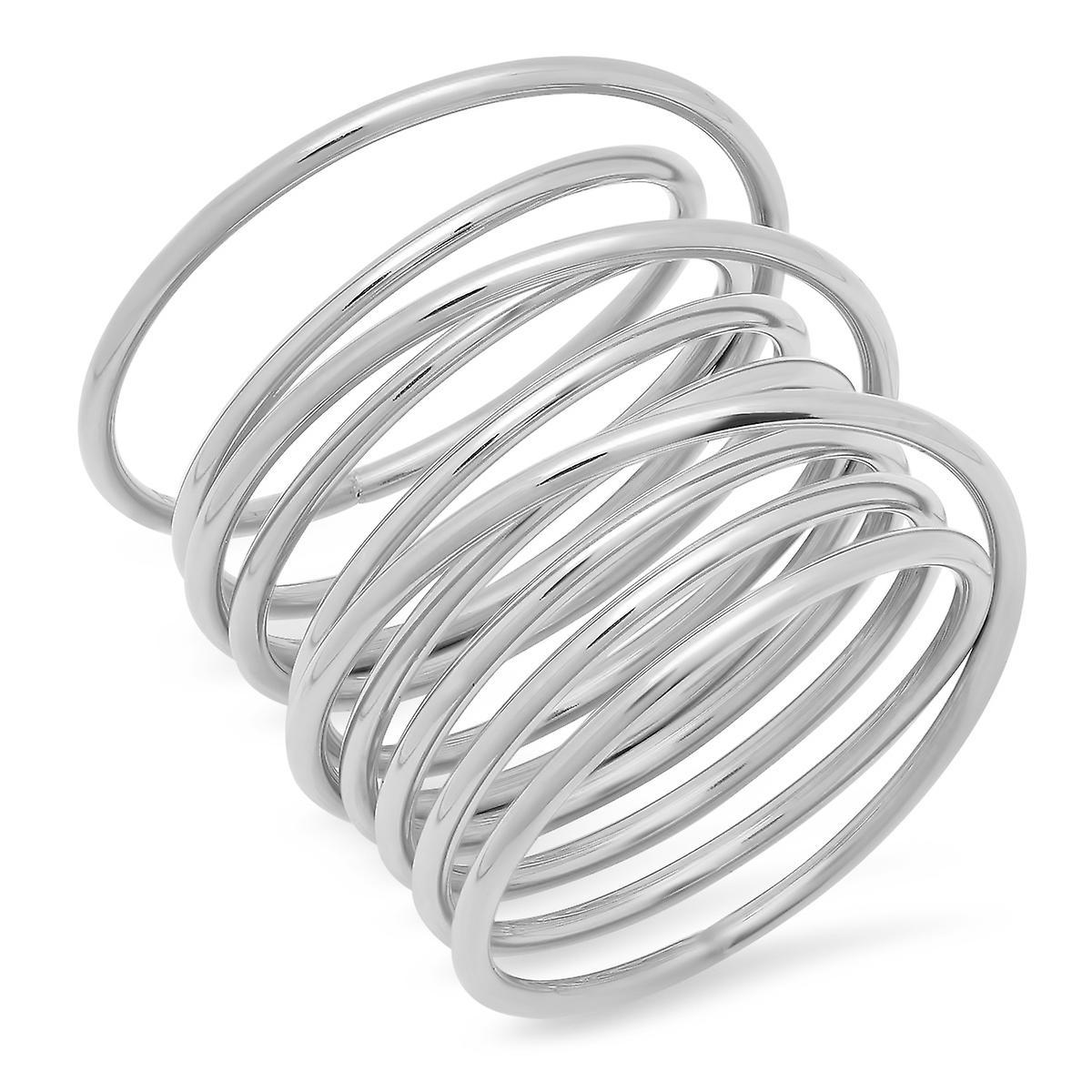 Ladies Stainless Steel Swirl Wrap Ring