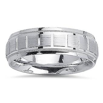 Mens 7mm 14K White Gold Hand Made Comfort Fit Wedding Band Ring