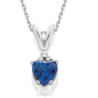 1 / 2ct diamant & simulerede blå safir hjerte vedhæng 14K hvidguld