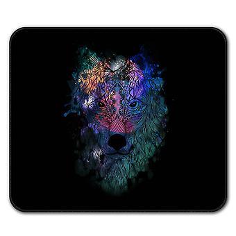 Podkładka pod mysz antypoślizgowe głowy wilka hippie Pad 24 cm x 20 cm | Wellcoda