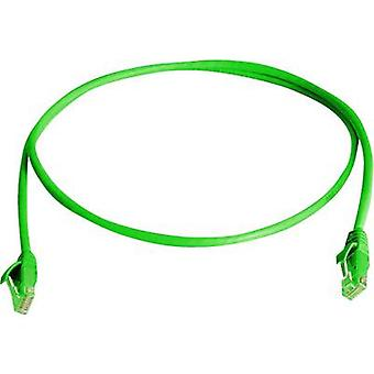 Telegärtner RJ45 Network cable, patch cable CAT 6 U/UTP 1.00 m Green Flame-retardant, Halogen-free