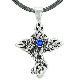 Feuer Drachen Schutz Keltische Knoten kreuzen Befugnisse magische Amulett Königsblau Kristall Anhänger Halskette