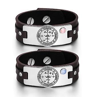 Archange Michael Sigil amour Couples Bracelets de cuir marron rose bleu chats simulé oeil amulette