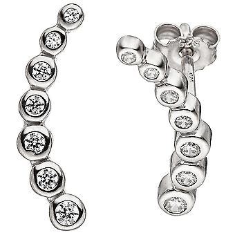 Earrings 925 sterling silver 14 cubic zirconia earrings Silver earrings