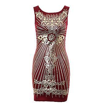 Ladies złota folia wydruku krzyż czarny kości słoniowej wina kobiet sukienka Bodycon