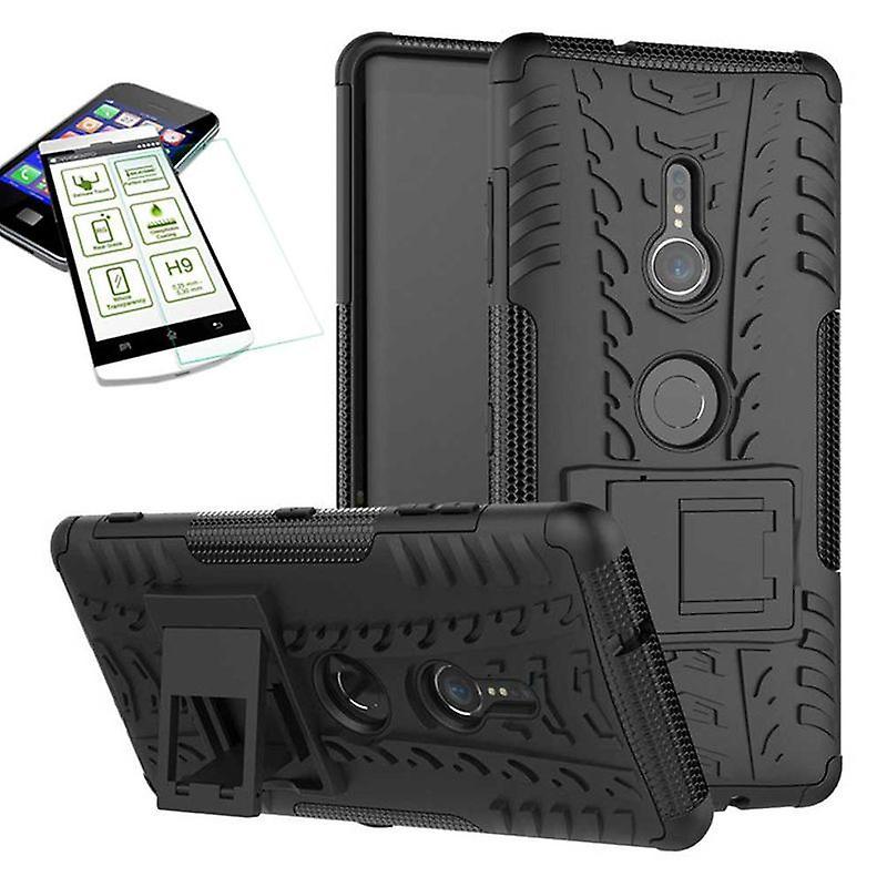 För Sony Xperia XZ3 hybrid 2 piece svart case väska fodral + härdat glas