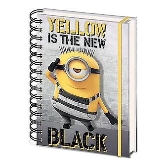 Despreciable me 3 cuaderno DIN A5 amarillo es el nuevo negro DINA A5, tapa dura con encuadernación en espiral, de 180 páginas con banda de goma.