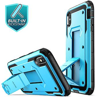 iPhone caso XR, [Armorbox] [construído no protetor de tela] [pesado dever proteção] [suporte] caso (liberação de 2018) (azul)