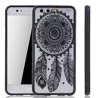 Handy Hülle Mandala für Huawei P10 Design Case Schutzhülle Motiv Traumfänger Cover Tasche Bumper Schwarz
