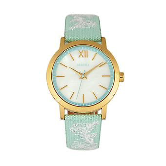 Bertha Penelope MOP Leather-Band Watch - Mint