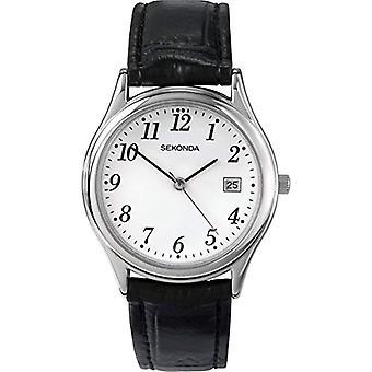 Sekonda pols horloge, analoog, Man, huid, zwart (5)