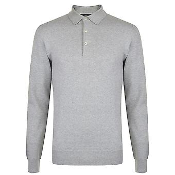 French Connection Mens Sleeved Polo Shirt Long Sleeve Top Button Placket Regular