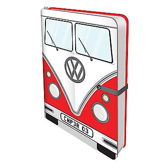 Volkswagen travel journal camper van bully red hardcover, with pens and Pocket, lined.