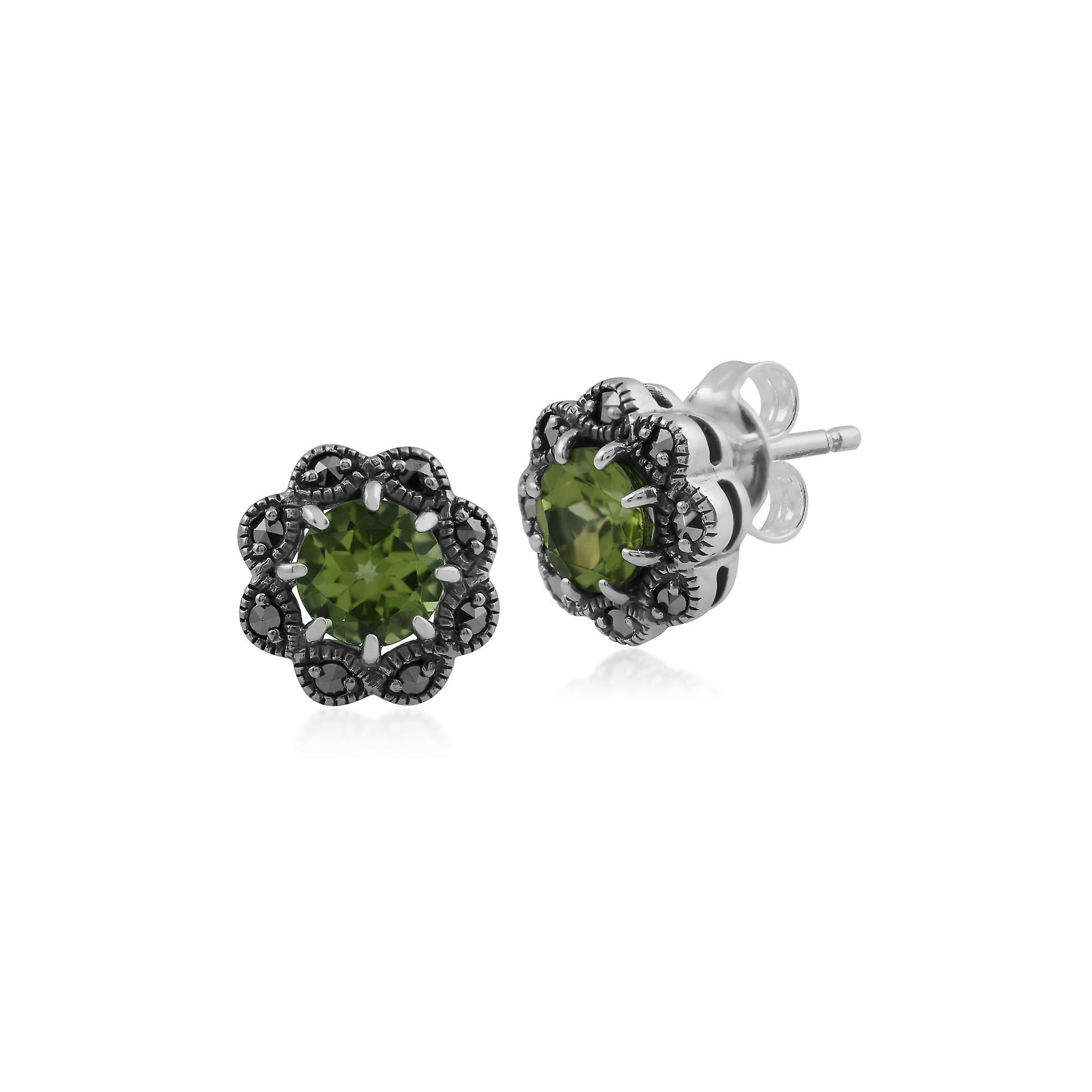 Gemondo Sterling Silver Peridot & Marcasite Art Nouveau Stud Earrings