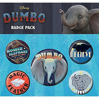Disney Button set Dumbo colorate, imprimate, fabricate din tablă, 1X x 3,8 cm, 4x x 2,5 cm.