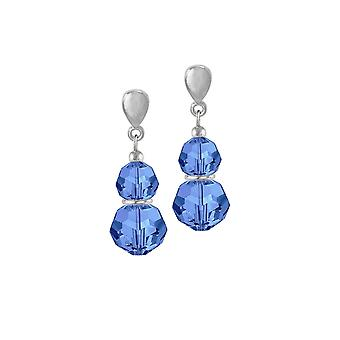 Eternal Collection Echo Sapphire Blue Austrian Crystal Silver Tone Drop Clip On Earrings