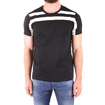 Les Hommes Urban Ezbc260012 Men's Black Cotton T-shirt