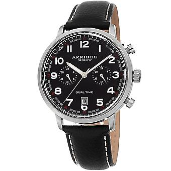 Akribos XXIV Männer AK1023 Dual-Time Comfortable Handy-Stil-Leather Strap Watch AK1023BK