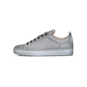 Lanvin Light Grey Reflective Panel Leather Sneaker