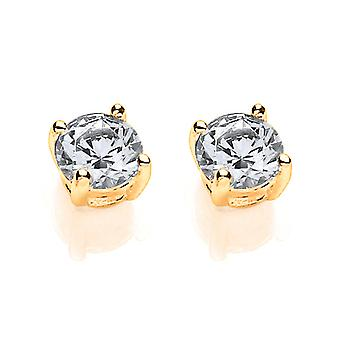 Jewelco London Ladies Gold-Plated Sterling Silver white round brilliant Crystal Zirconia Solitaire Stud Earrings