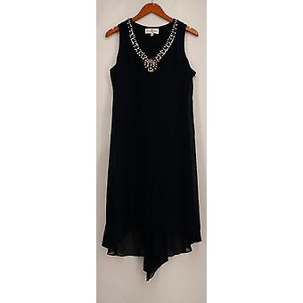 Countess Collection Woven Embellished Neckline Hi Lo Dress Blue New A422251