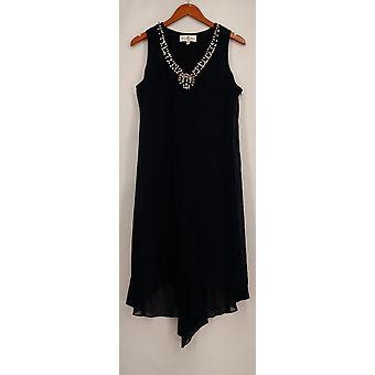 Grevinne samling vevd pyntet halsen Hei lo kjole blå ny A422251