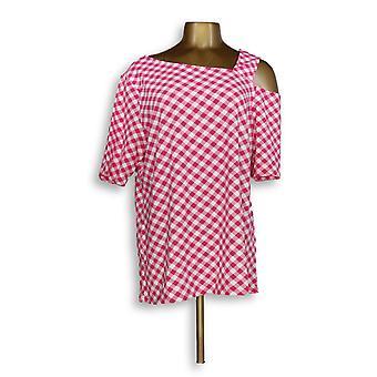 Isaac Mizrahi Live! Women's Top L Gingham Print One-Shoulder Pink A346449