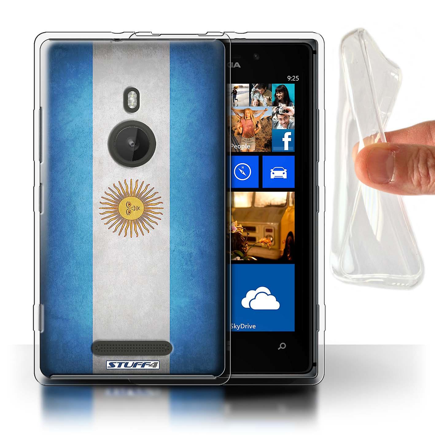 STUFF4 Gel TPU Case/Cover for Nokia Lumia 925/Argentina/Argentinean/Flags