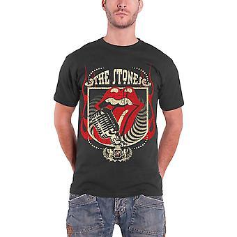 Det rullande stenar Mens T Shirt Grå Vintage nödställda fyrtio 40 Licks tjänsteman