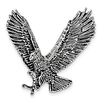 925 Sterling Argent et Textured 3 d Angel Wings Open Eagle Chain Slide Jewelry Gifts pour les femmes