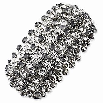 Silver tone Clear and Black Crystals And Acrylic Stones Stretch Bracelet Jewelry Gifts for Women