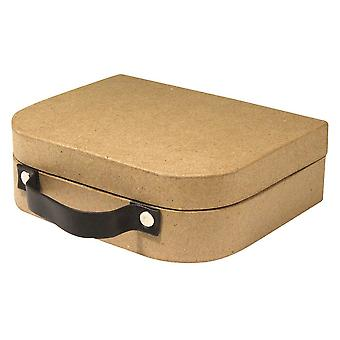 25cm Large Paper Mache Suitcase with Leather Look Handle to Decorate