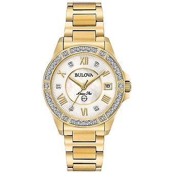 Bulova Womans Marine Star Diamond Gold Tone 98R235 Watch