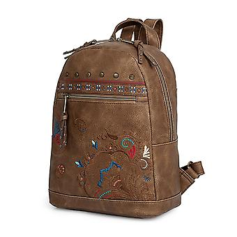 Women's Casual Backpack With Embroidered Kashmir Model Redwood