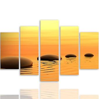 Five Part Picture On Canvas, Pentaptych, Type A, Zen Stones 4