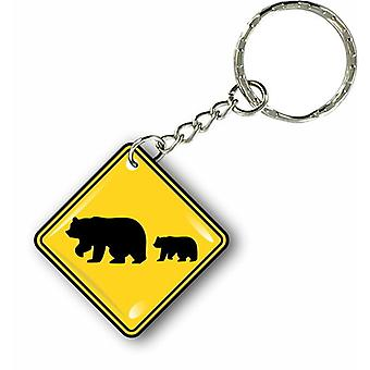Door Cles Key Keychain Motorcycle Car Panel Bear Attention Bear USA Sign