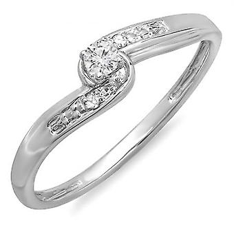 Dazzlingrock Collection 0.10 Carat (ctw) 10k Round Diamond Crossover Swirl Ladies 3 Stone Bridal Promise Engagement Ring 1/10 CT, White Gold